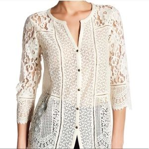 NWT Lucky Brand White Lace Button-Up Blouse